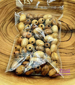Jerusalem Olive Wood Beads 12mm oval beads Rosary Jewelry beads ( 60 Beads ) - BEAD012 - Zuluf