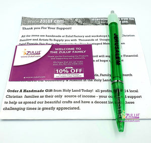 Jerusalem Pen with Souvenir Inside Holy Land Pictures and Sites Inside - 5 Pens Green with Zuluf Certificate - Zuluf