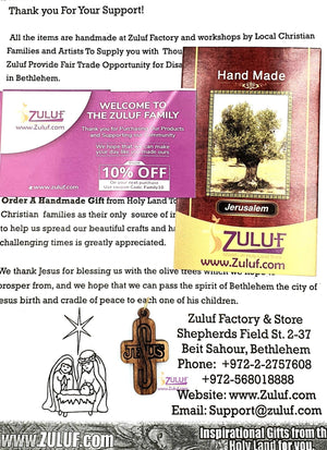 Jesus Bethlehem Olive Wood Cross by Zuluf - PEN080 - Zuluf