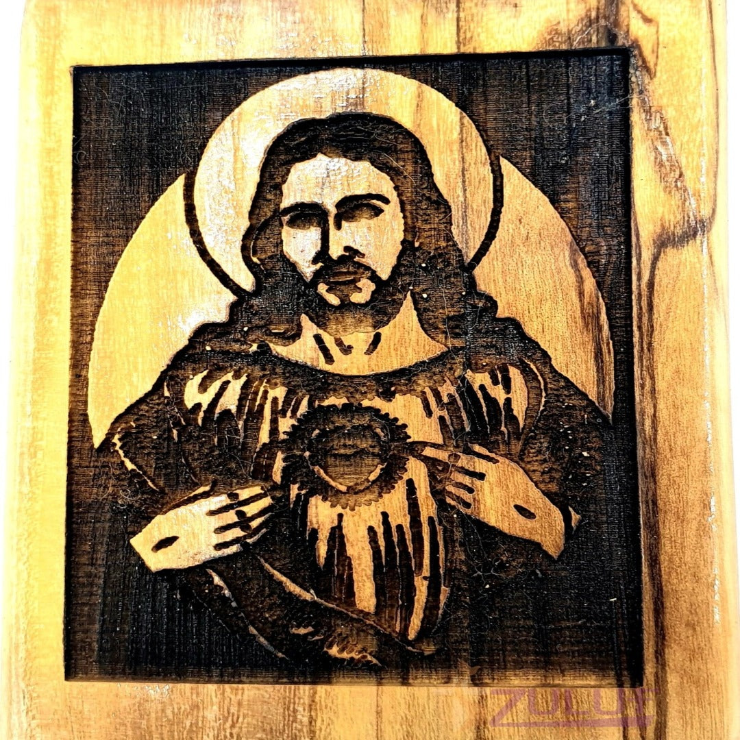 Jesus christ hand made Magnet Religious Art Olive Wood Holy Land - MAG082 - Zuluf