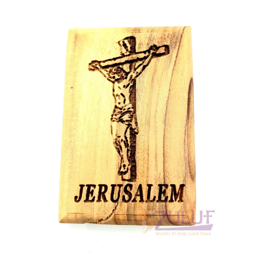 Jesus christ on the cross Magnet Religious Art Olive Wood Holy Land - MAG079 - Zuluf
