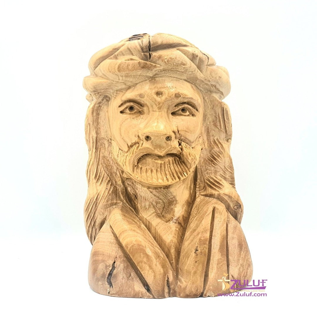 Jesus Head Olive Wood Handcrafted Statue Zuluf - (FIG042) - Zuluf