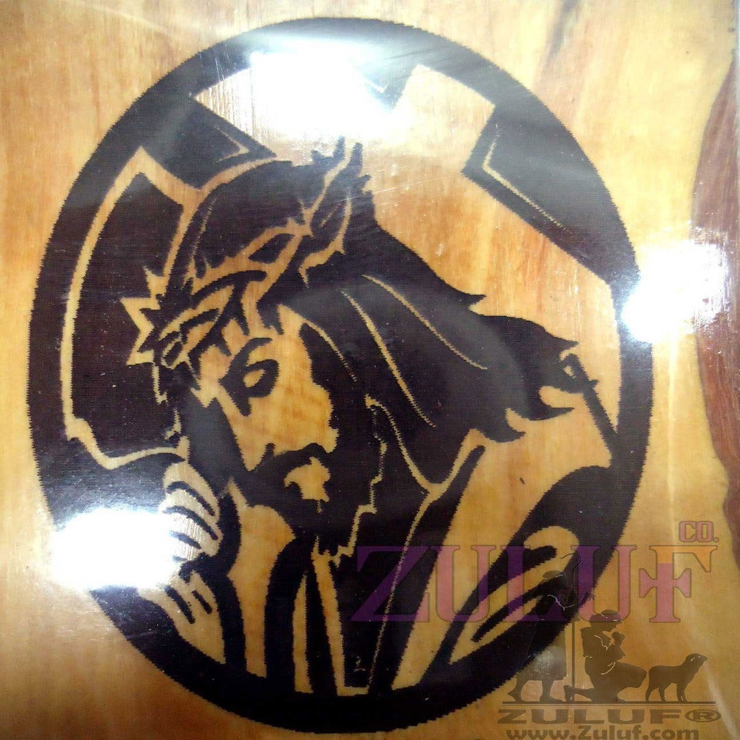 Jesus Holding The Cross Home Kitchen Magnet olive wood wooden Jesus Magnet - MAG006 - Zuluf