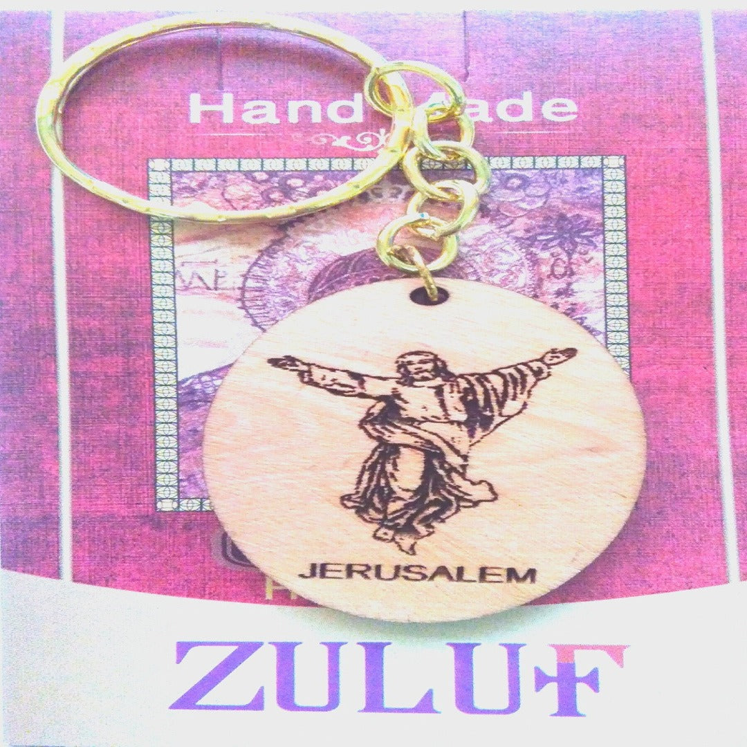 Jesus Jerusalem Engraved Holy Land Laser Art Hand Carved Key Chain - Zuluf KC092 - Zuluf