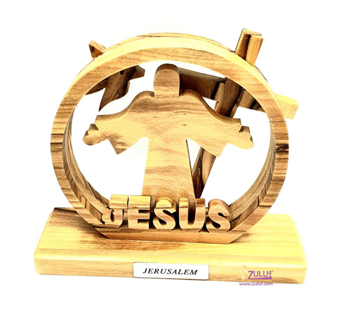Jesus Olive wood Table top religious gift scroll saw craft Fair Trade - HLG040 - Zuluf
