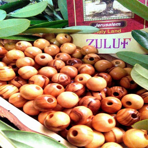 large Holy Land Olive wood Beads 14mm Israel beads hand carved ( 60 Beads ) - BEAD013 - Zuluf