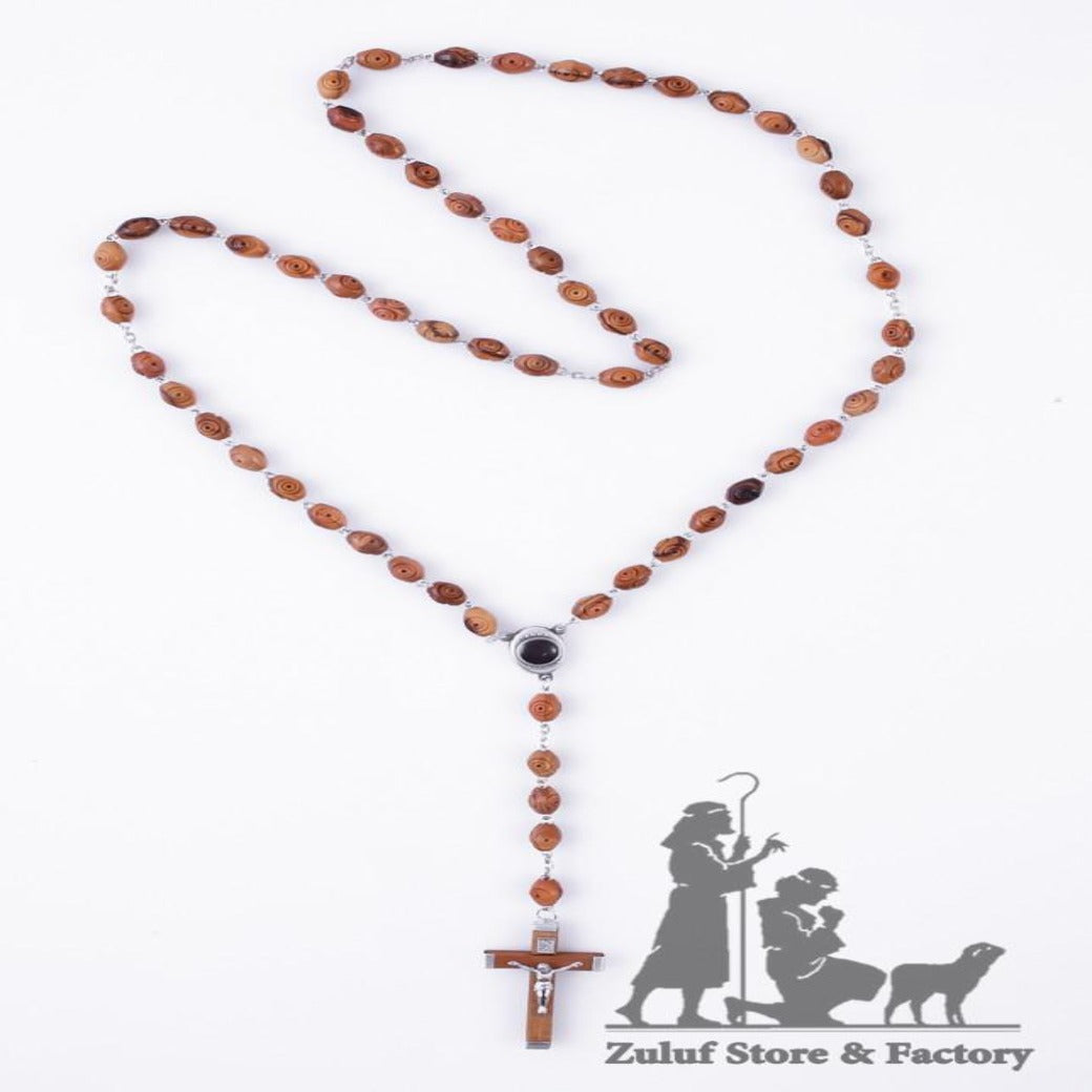 Large Natural Carved Beads Olive Wood Jerusalem Rosary w/Soil, Silver Chain and Crucifix - ROS041 - Zuluf