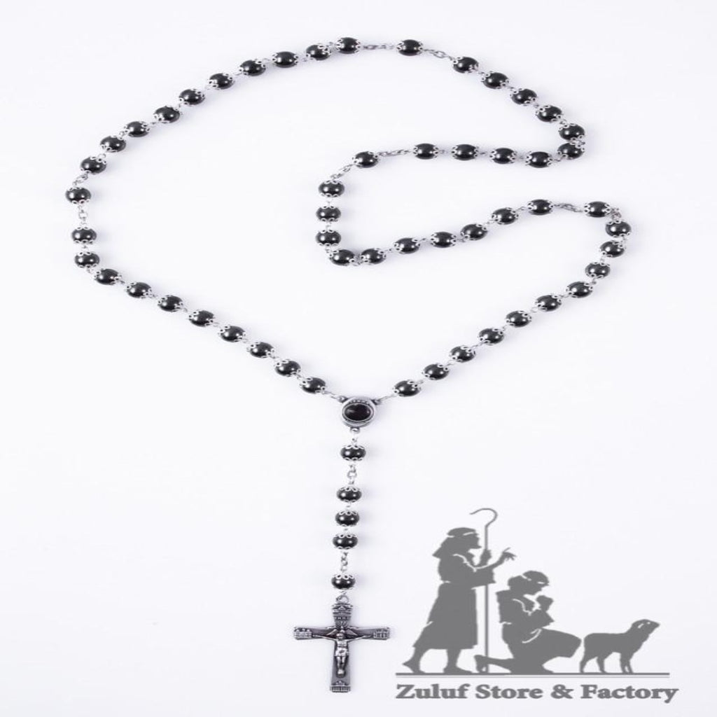 Large Necklace Black Glass Beads Order This Rosary Online - ROS029 - Zuluf