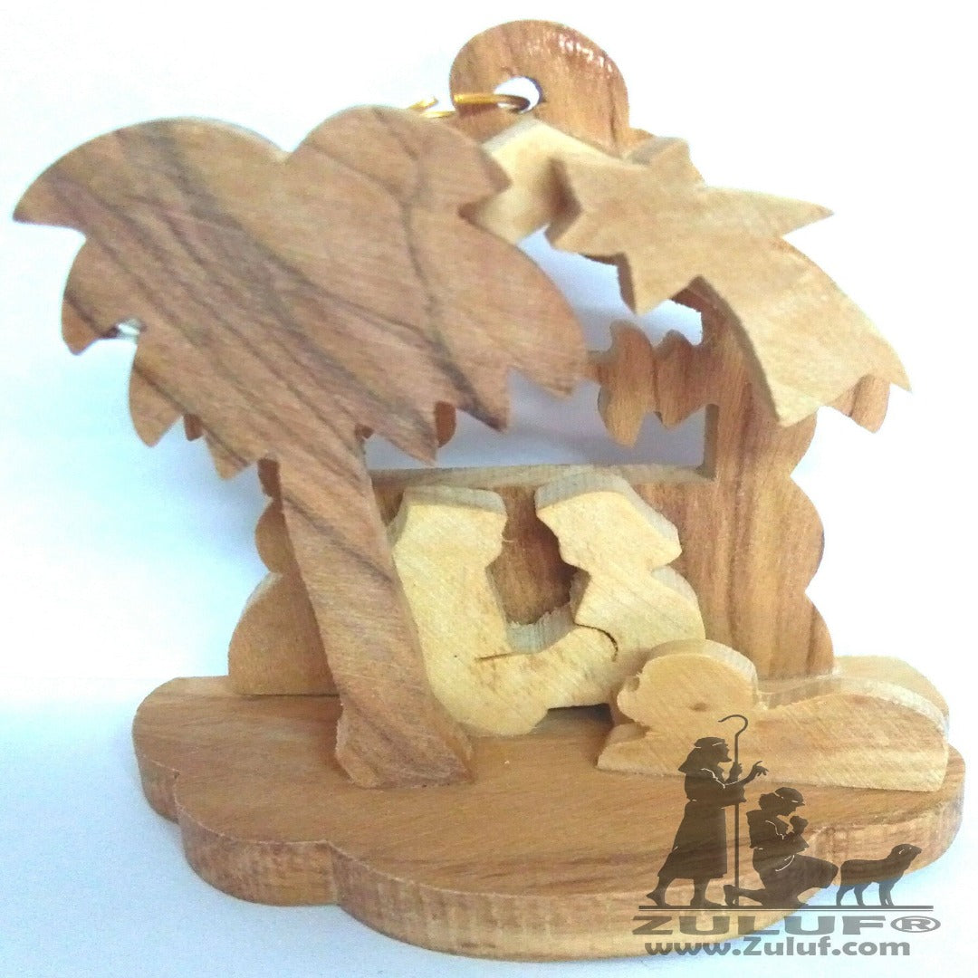 Lovely Wooden Nativity Ornament Handmade Religious Christian Decor By Zuluf - (ORN011) - Zuluf