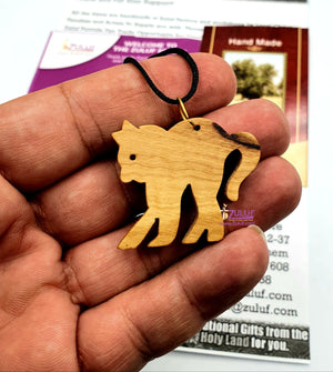 Lucky Cat Pendant Necklace Charm Jewelry With Cord Hand Crafted Olive Wood Gift (OW-PEN-017) - Zuluf