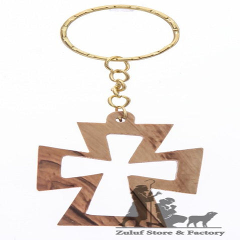 Made in Bethlehem Holy Land Cross Olive Wood Key Chain (OW-KC-008) - Zuluf