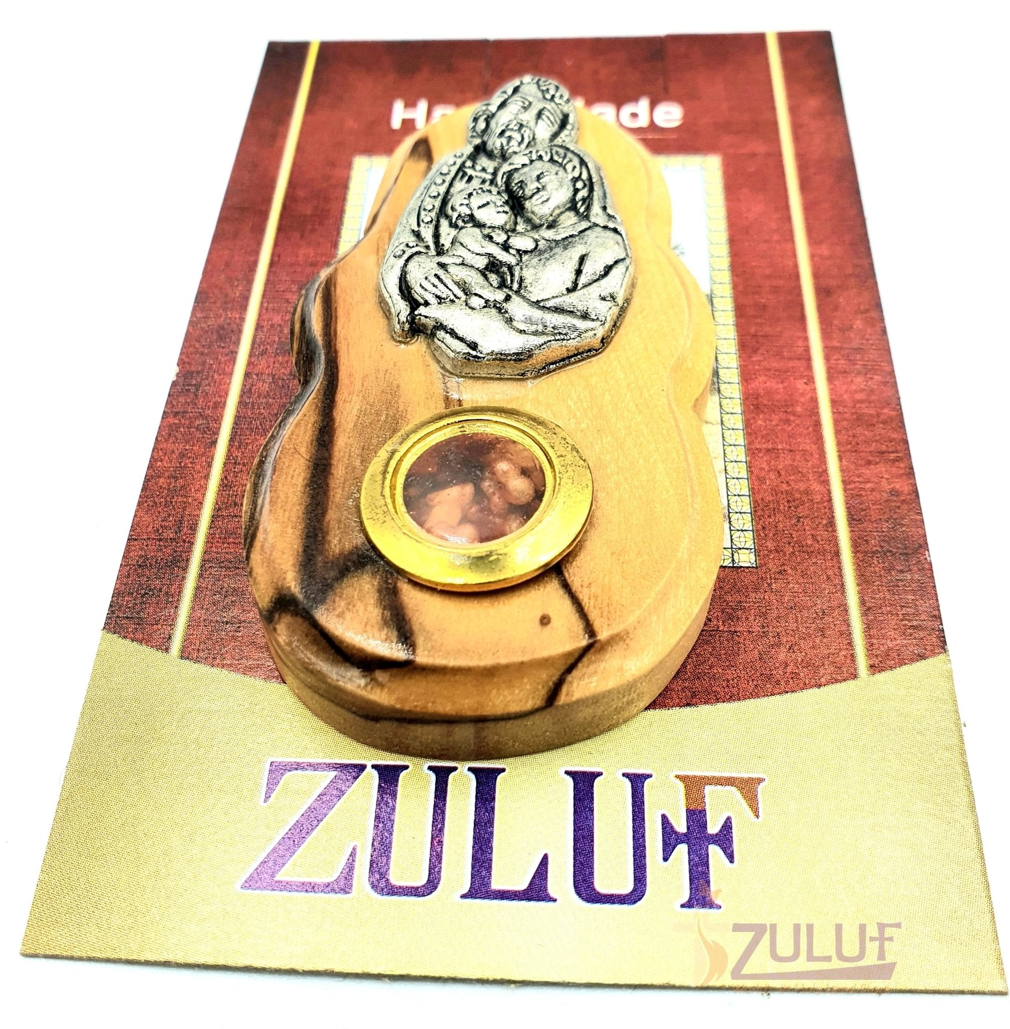 Magnet Holy Family Olive Wood Art With Metal Incense Mag087 - Zuluf
