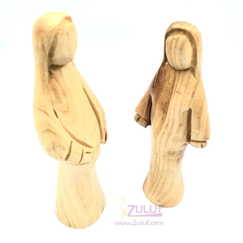 Mary and Elizabeth Olive Wood Statues Hand Made from Jerusalem 2 Pieces - MAR024 - Zuluf