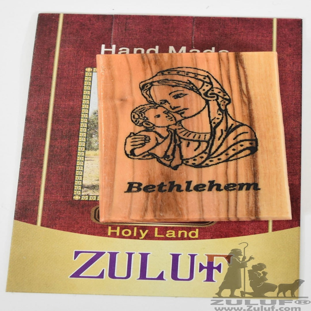 Mary Bethlehem with Jesus Child Olive Wood Magnet - Zuluf Olive Wood Factory - MAG030 - Zuluf