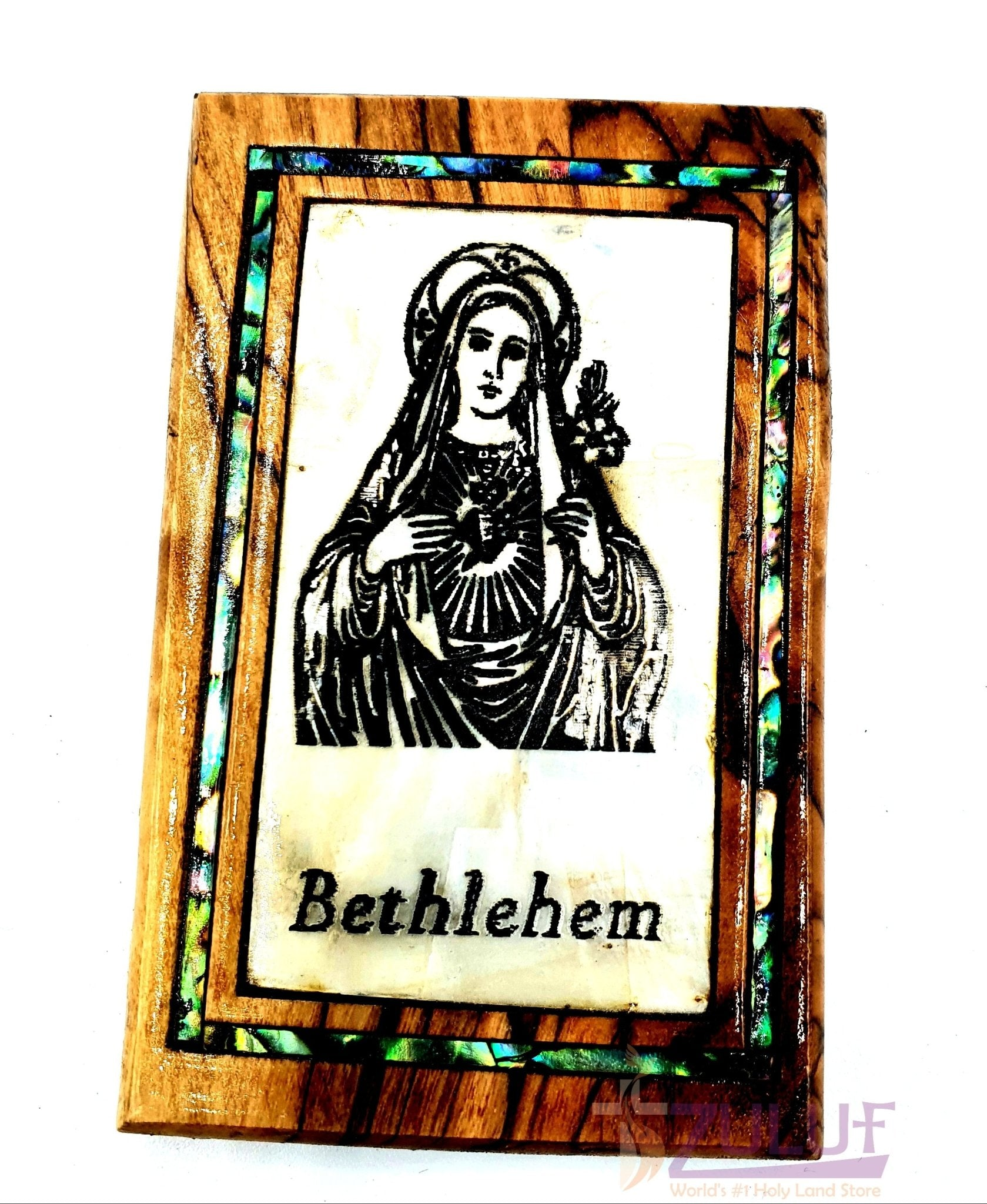 Mary virgin bethlehem Magnet Religious Art Olive Wood mather of pearl Holy Land - MAG076 - Zuluf
