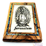 Mary virgin Magnet Religious Art Olive Wood mather of pearl Holy Land - MAG070 - Zuluf