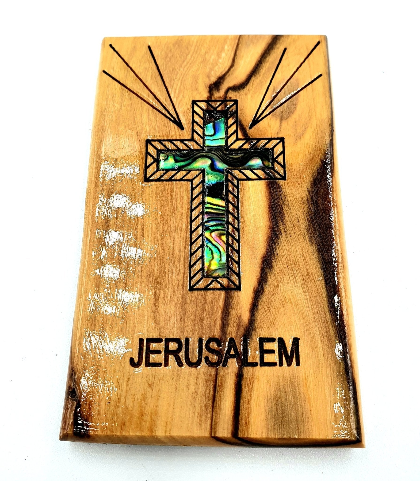 Mather of pearl cross hand made Magnet Religious Art Olive Wood mather of pearl Holy Land - MAG075 - Zuluf