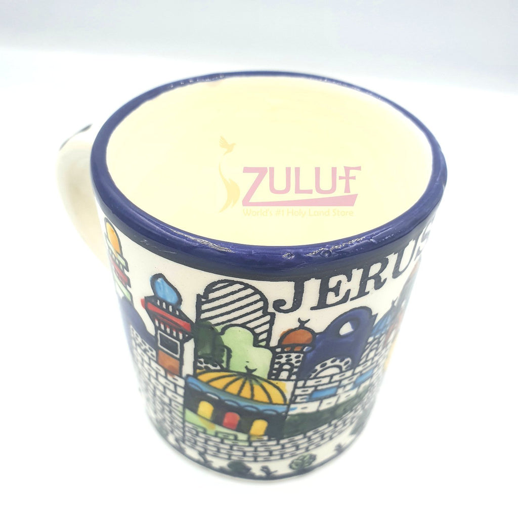Medium Israel Mug - Armenian Ceramic Jerusalem Mug colorful Jerusalem Old City scene - CER024 - Zuluf