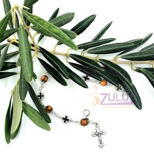 Mix Olive wood and metallic black crosses with main cross BRA050 - Zuluf