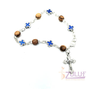 Mix Olive wood and metallic blue crosses with main cross BRA051 - Zuluf