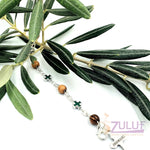 Mix Olive wood and metallic green crosses with main cross BRA053 - Zuluf