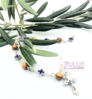 Mix Olive wood and metallic purple crosses with main cross BRA052 - Zuluf