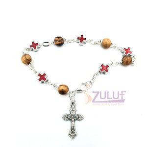 Mix Olive wood and metallic red crosses with main cross BRA055 - Zuluf