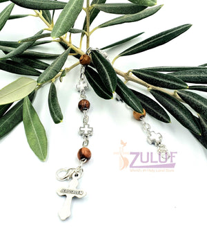 Mix Olive wood and metallic white crosses with main cross BRA056 - Zuluf