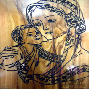 Modern Religious Icon Mother of God Mary Icon Olive Wood Religious Craft Gift - MAG013 - Zuluf