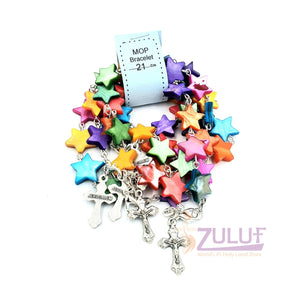 Mother of pearl bracelet with metalic cross BRA060 - Zuluf