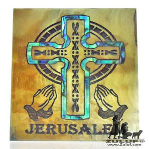 Mother of Pearl Inlaid Olive Wood Celtic praying hands cross - Zuluf Store - MAG054 - Zuluf