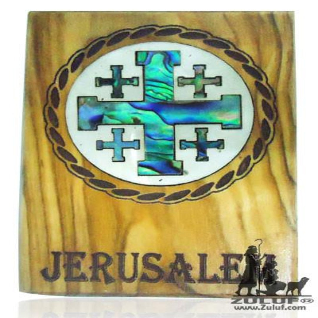 Mother of Pearl Inlaid Olive Wood Magnet Catholic Christian Gift Cross - Zuluf Store - MAG057 - Zuluf