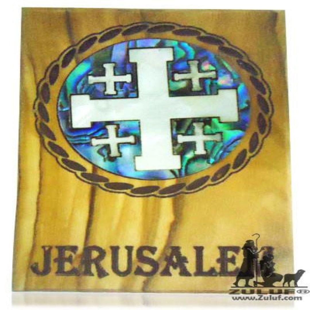 Mother of Pearl Inlaid Olive Wood Magnet Jerusalem Cross Knight's Templar Cross - MAG060 - Zuluf