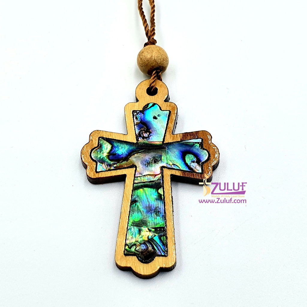 Mother of Pearl Olive Wood Cross Pendant by Zuluf PEN185 - Zuluf