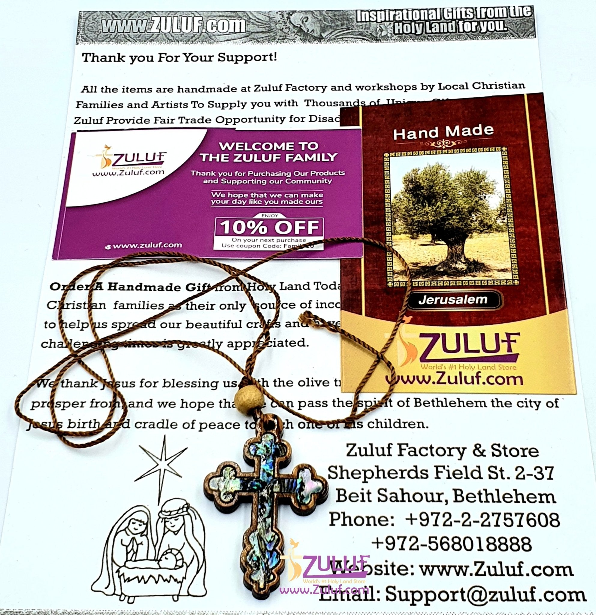 Mother of Pearl Olive Wood Orthodox Cross Pendant by Zuluf PEN187 - Zuluf