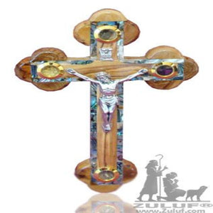 Mother Of Pearl Orthodox Wall Olive Wood Cross Inlaid Bethlehem - 18X12CM/7X4.7in (MOP017) - Zuluf