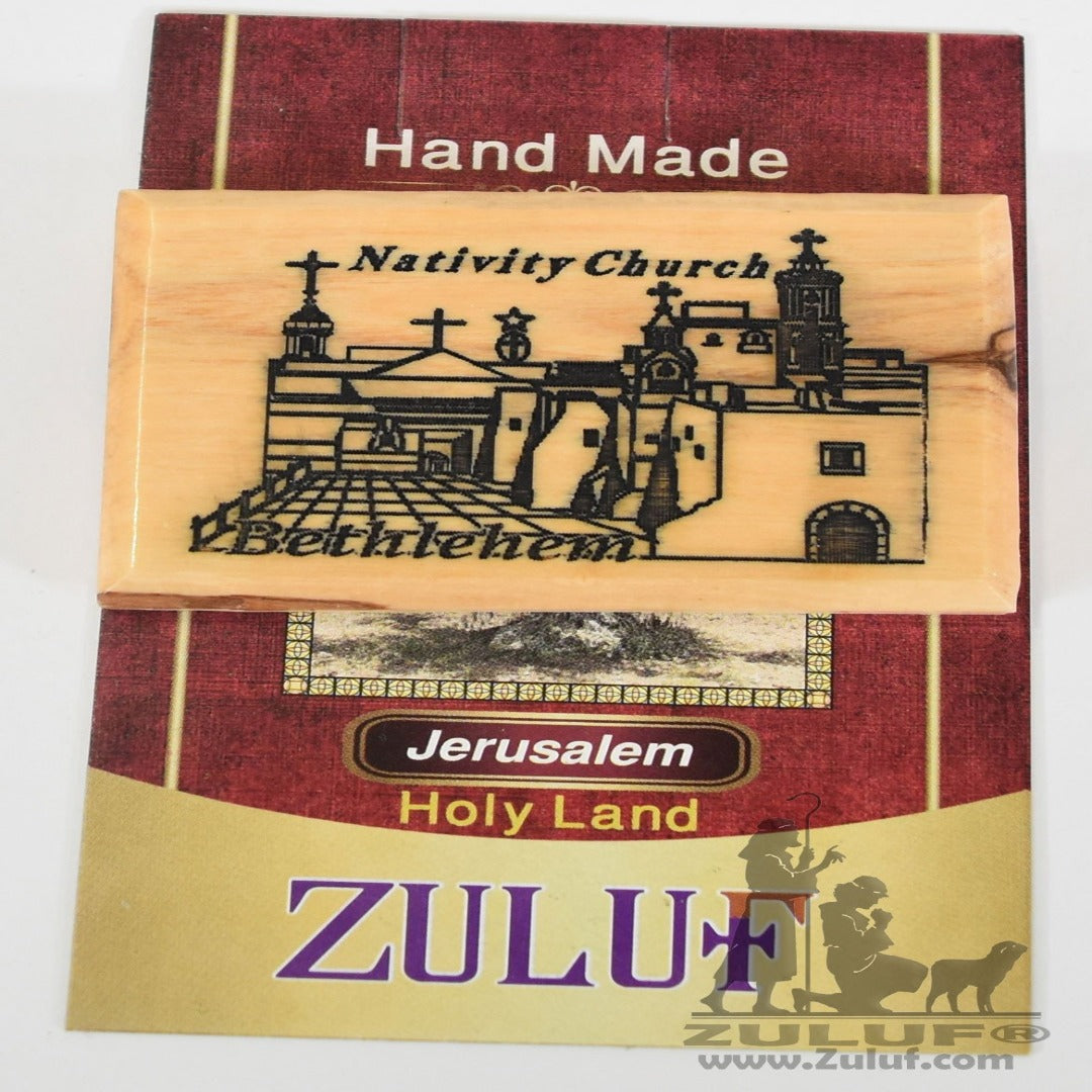 Nativity Church Laser Art Olive Wood Magnet - Zuluf Olive Wood Factory - MAG043 - Zuluf