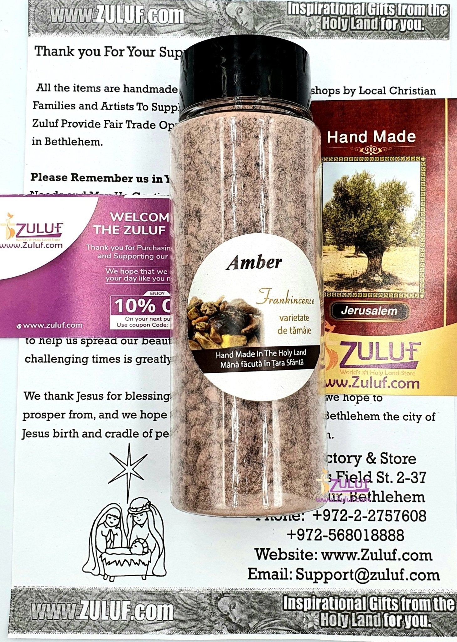 Natural Biblical Incense Blend - Made in Israel Resin Incense Aromatic Jerusalem Holy Land Frankincense 130 Grams or 4.5 OZ - Zuluf