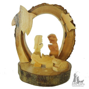 Olive Tree Bark Nativity Scene Olive Wood Olive wood From Holy Land by Zuluf - NAT013 - Zuluf
