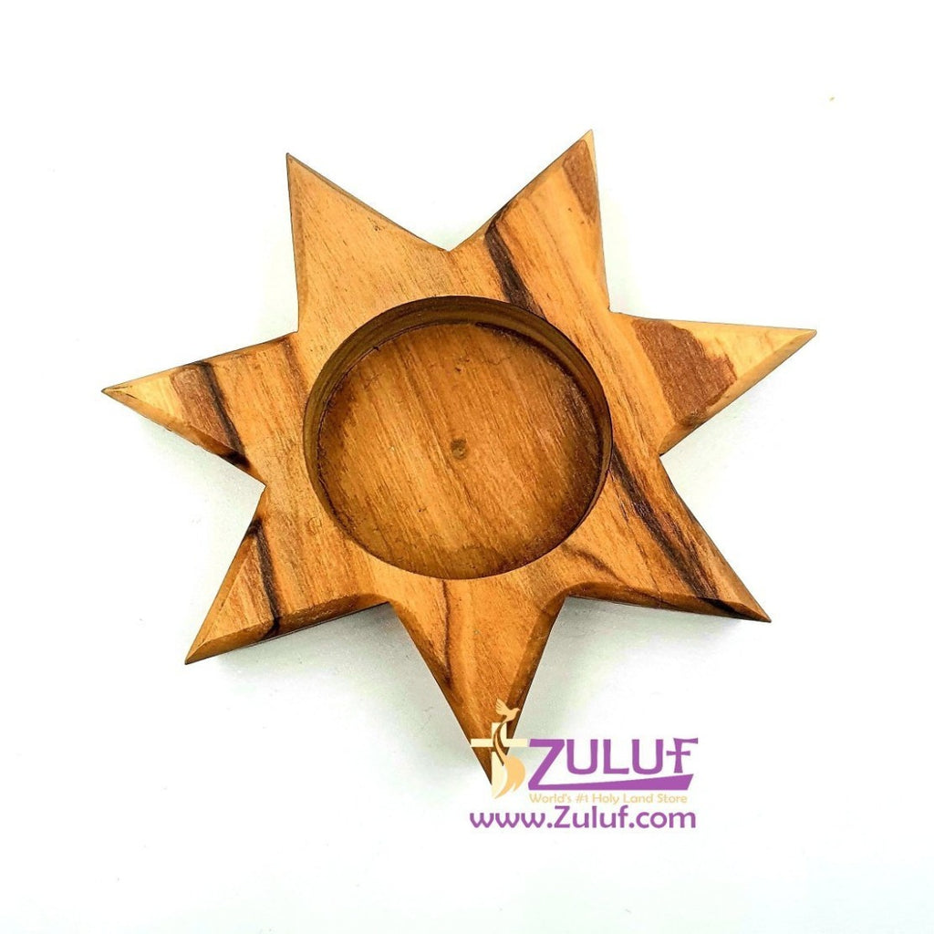 Olive Wood 7 Point Star Candle Holder Décor By Zuluf - 2*8.5X8.5CM (CAH001) - Zuluf