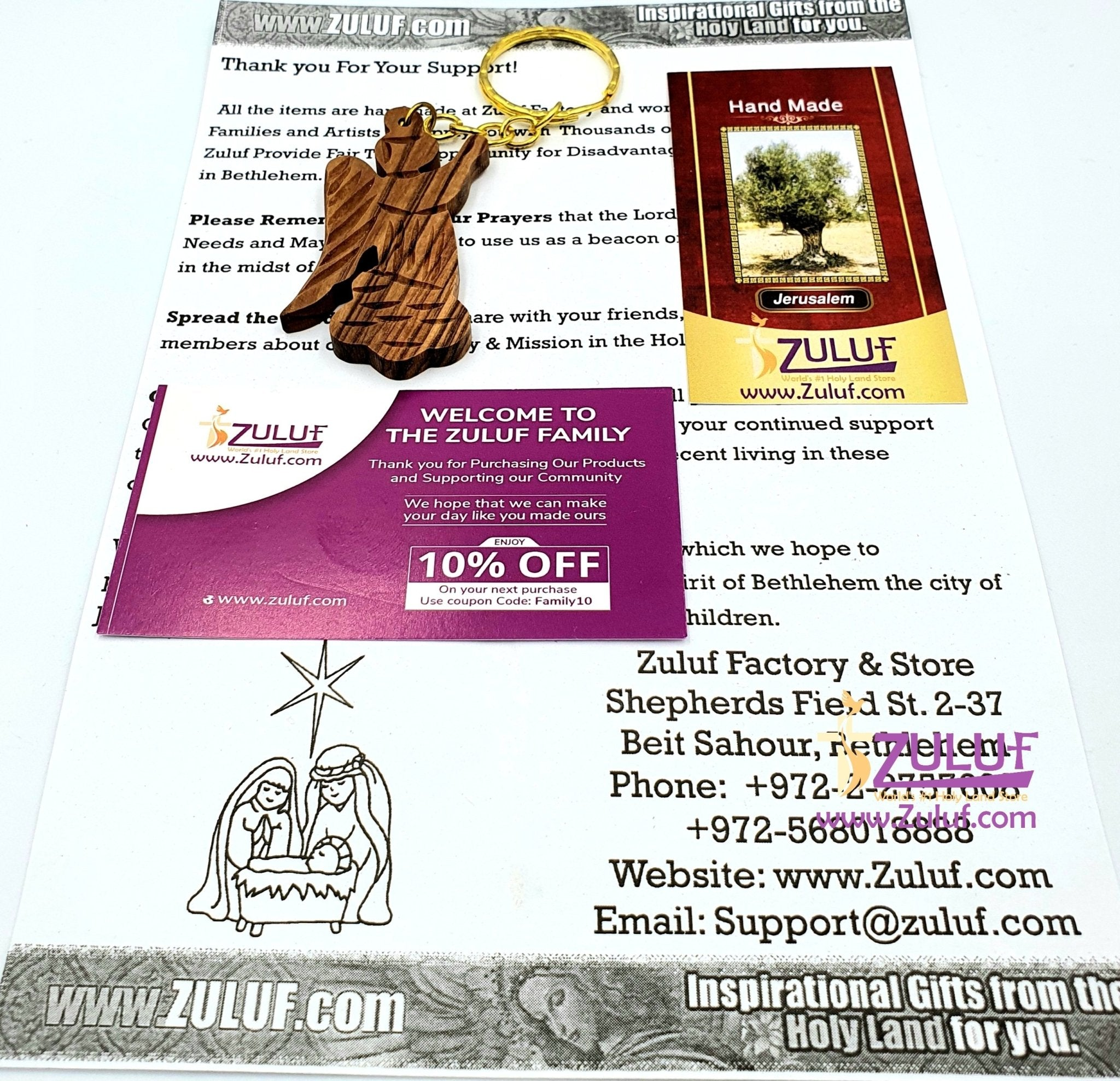 olive wood angel pendant key chain - KC001 - Zuluf