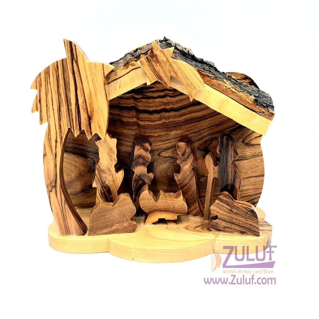 Olive wood Art Bark Nativity Scene Olive Wood Nativity Holy Land NAT069 - Zuluf