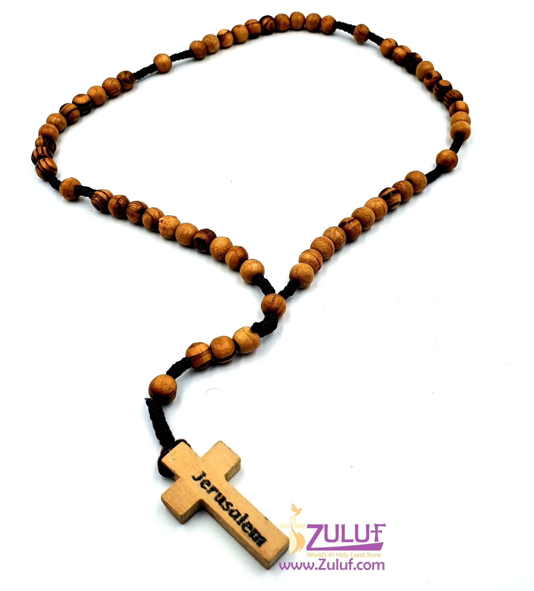 Olive Wood Beads Rosary From Jerusalem - Hand Made (Thread) By Zuluf Factory. (ROS004) - Zuluf
