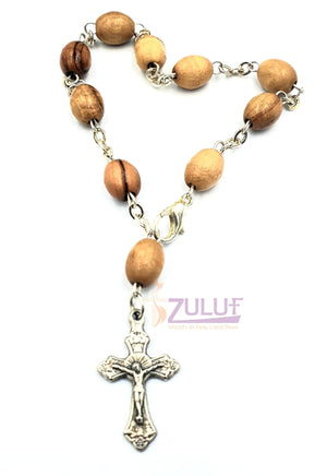 Olive Wood Bracelet with Silver Chain and Cross - BRA030 - Zuluf