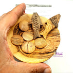 "Olive Wood Bread, Fish and plate - Remember Miracle of Jesus Multiplication - 10cm / 3.9"" with Zuluf Certificate HLG211 - Zuluf"