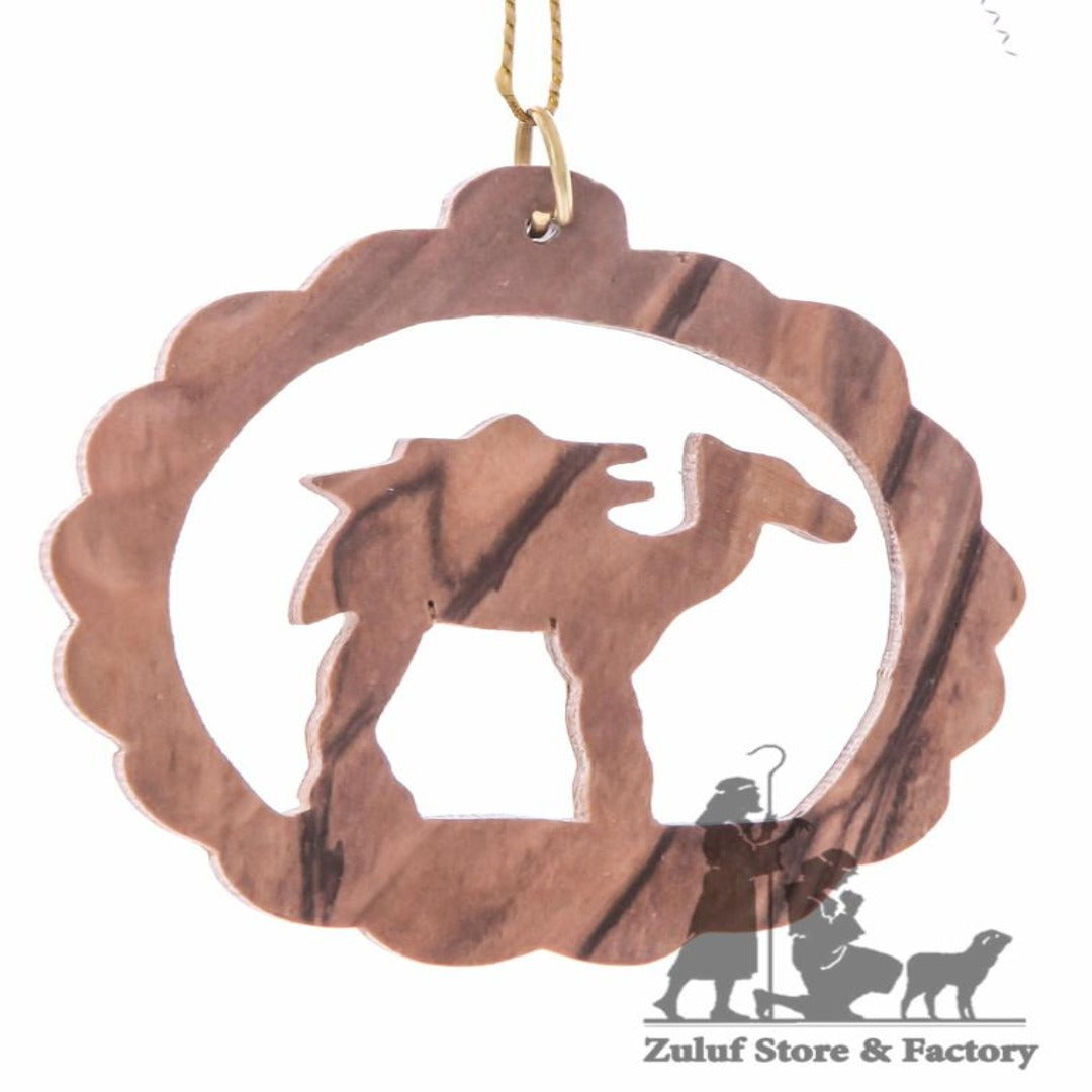 Olive Wood Camel in Circle Christmas Ornament - Fair Trade & Handmade - Zuluf ORN045 - Zuluf