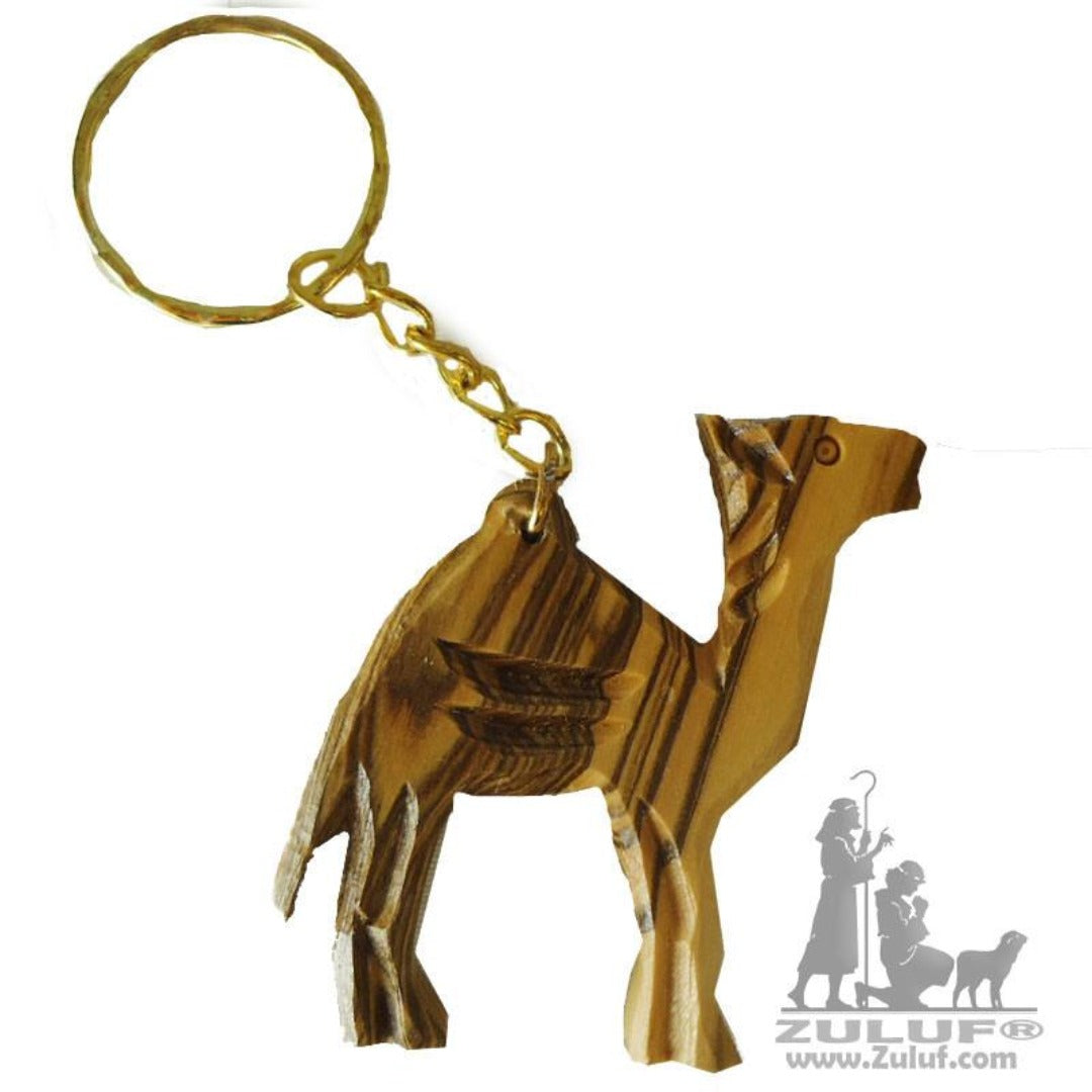 Olive Wood Carved Camel Key Chain from Bethlehem Israel (OW-KC-006) - Zuluf
