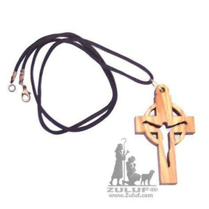 Olive Wood Celtic Cross Pendant on Cord Chain Necklace - PEN142 - Zuluf
