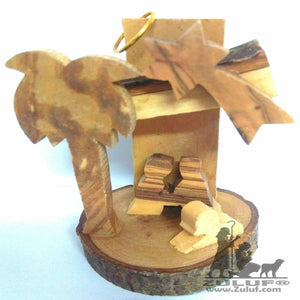 Olive Wood Christmas Bark Nativity Scene - Zuluf ORN046 - Zuluf