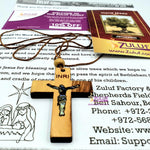 Olive Wood Cross Pendant Crucifix with Mother of Pearl PEN175 by Zuluf - Zuluf
